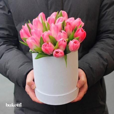 25 розовых тюльпана в коробке